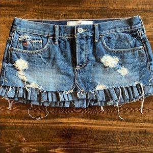 Hollister distressed denim mini skirt with ruffle